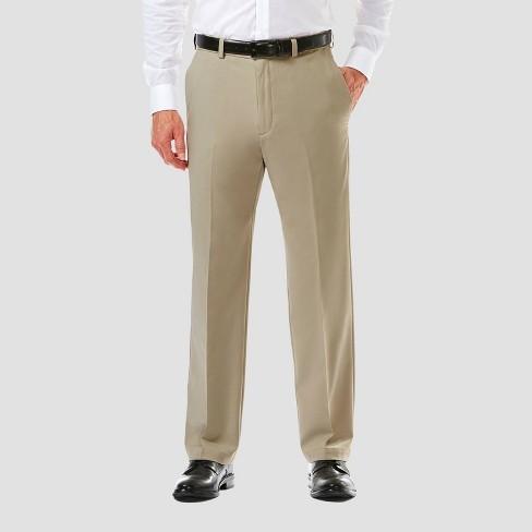Haggar Mens 32X30 Flat-Front Classic-Fit Khakis Pants