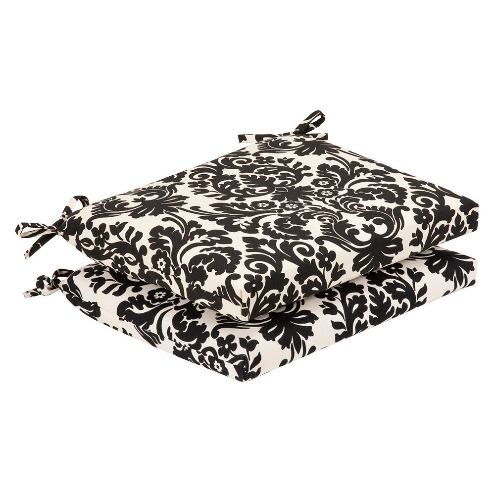 Image of 2-Piece Outdoor Seat Pad/Dining/Bistro Cushion Set - Black/White Floral