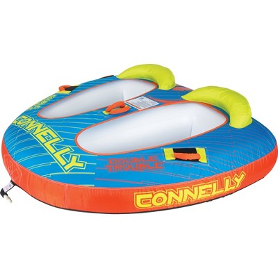 CWB Connelly Double Trouble 2 Person 66x72 Inch Partially Covered Cockpit Style Inflatable Boat Towable Water Inner Tubing Tube