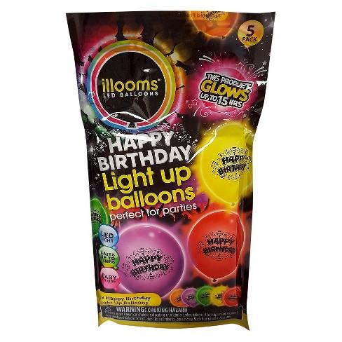 5ct IlloomsR LED Light Up Happy Birthday Balloon Target