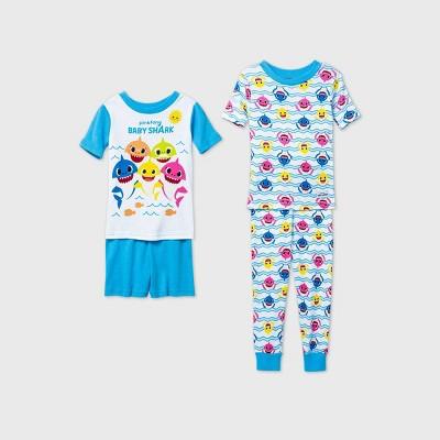 Toddler Boys' Baby Shark 4pc Pajama Set - Blue 2T
