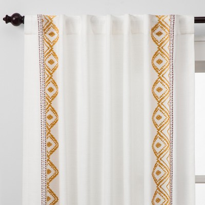 Global Border Curtain Panel White Yellow - Opalhouse™