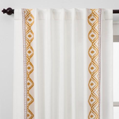 Global Border Curtain Panel White Yellow Opalhouse