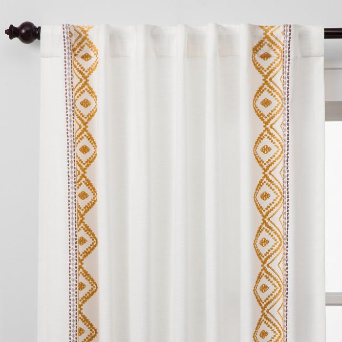 Global Border Curtain Panel White Yellow - Opalhouse™ - image 1 of 6