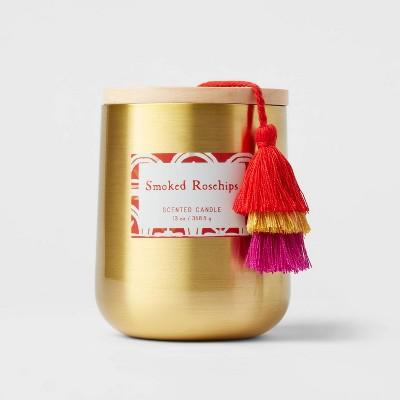 13oz Global Lidded Metal/Wood Tassel Smoked Rosehips Candle - Opalhouse™