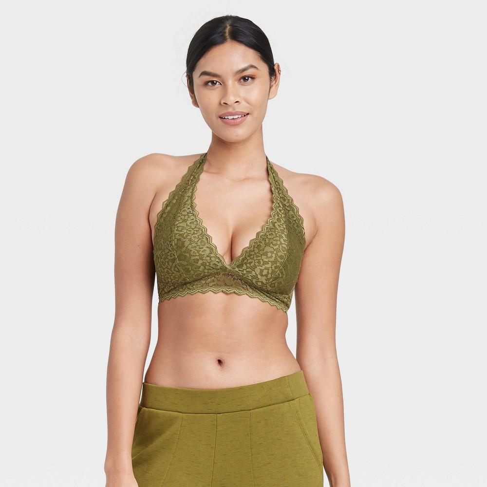 Women 39 S Lace Halter Bralette Auden 8482 Green Xs