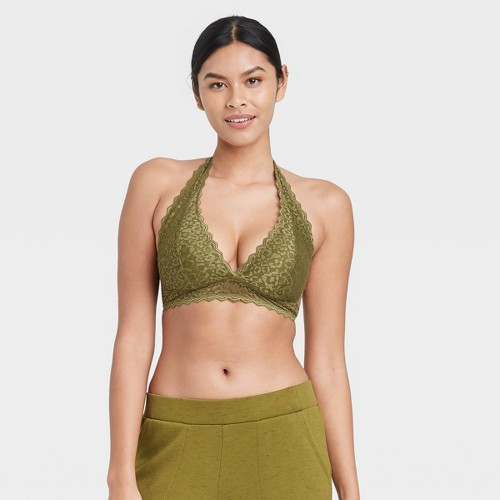 Women S Lace Halter Bralette Auden Green XL