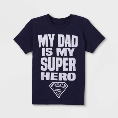 Boys' Superman Father's Day Short Sleeve Graphic T-Shirt - Blue