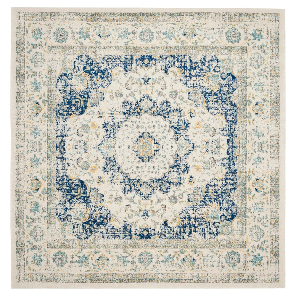 Ivory/Blue Abstract Loomed Square Area Rug - (9'X9') - Safavieh
