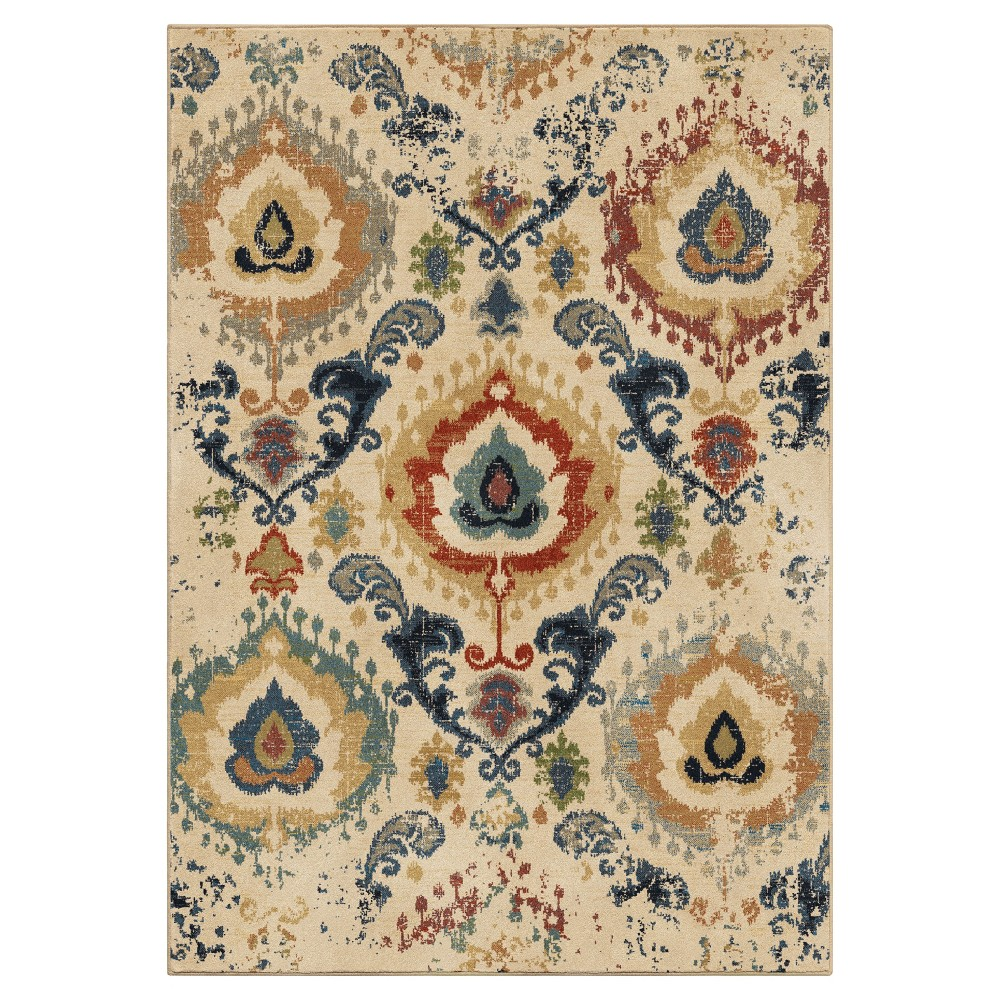 Beige Floral Woven Area Rug 7'10