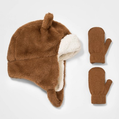 Toddler Boys' 2pk Bear Fleece Trapper with Magic Mittens - Cat & Jack™ Brown 12-24M