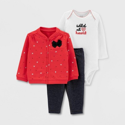 "Baby Girls' ""Wild At Heart"" Cardigan Top & Bottom Set - Just One You® made by carter's Red 6M"