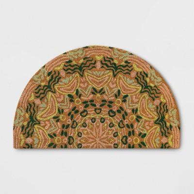 """1'6"""" x 2'6"""" Half Cirlce Door Mat Floral Green - Opalhouse™"""