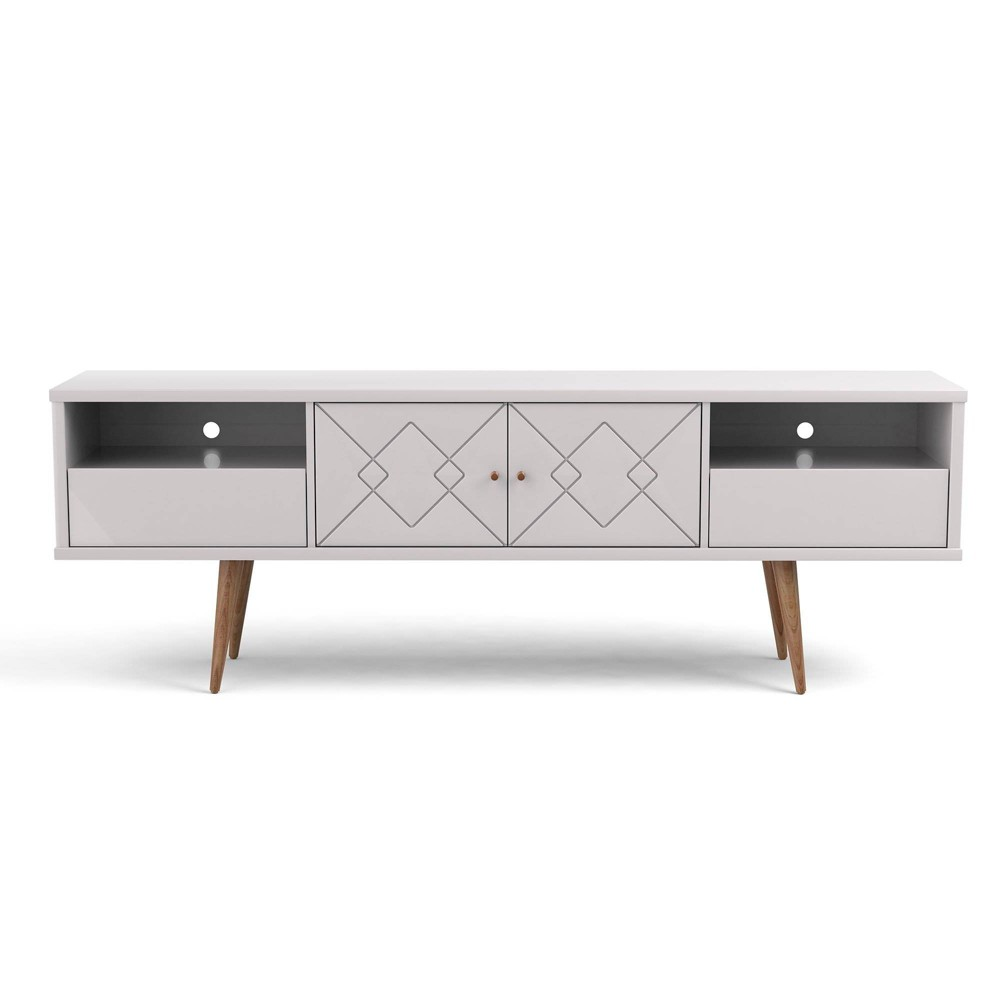 70.86 Trinity Mid Century Modern TV Stand with Solid Wood Legs Gloss White - Manhattan Comfort