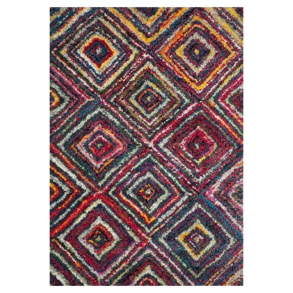 Multicolor Abstract Shag/Flokati Loomed Area Rug - (5'1