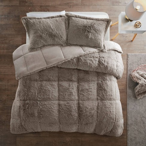 Leena King/California King 3pc Shaggy Faux Fur Comforter Set Gray