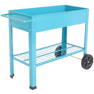 "43"" Raised Garden Bed Cart with Wheels - Blue Galvanized Steel - Sunnydaze Decor"