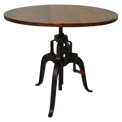 Reed Adjustable Crank Dining Table Chestnut/Black - Carolina Chair & Table