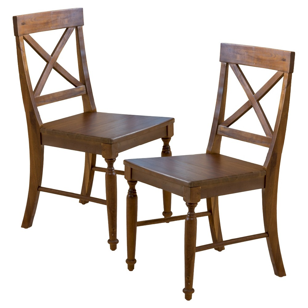 Buy Set of 2 Rovie Acacia Wood Dining Chair Dark Oak - Christopher Knight Home