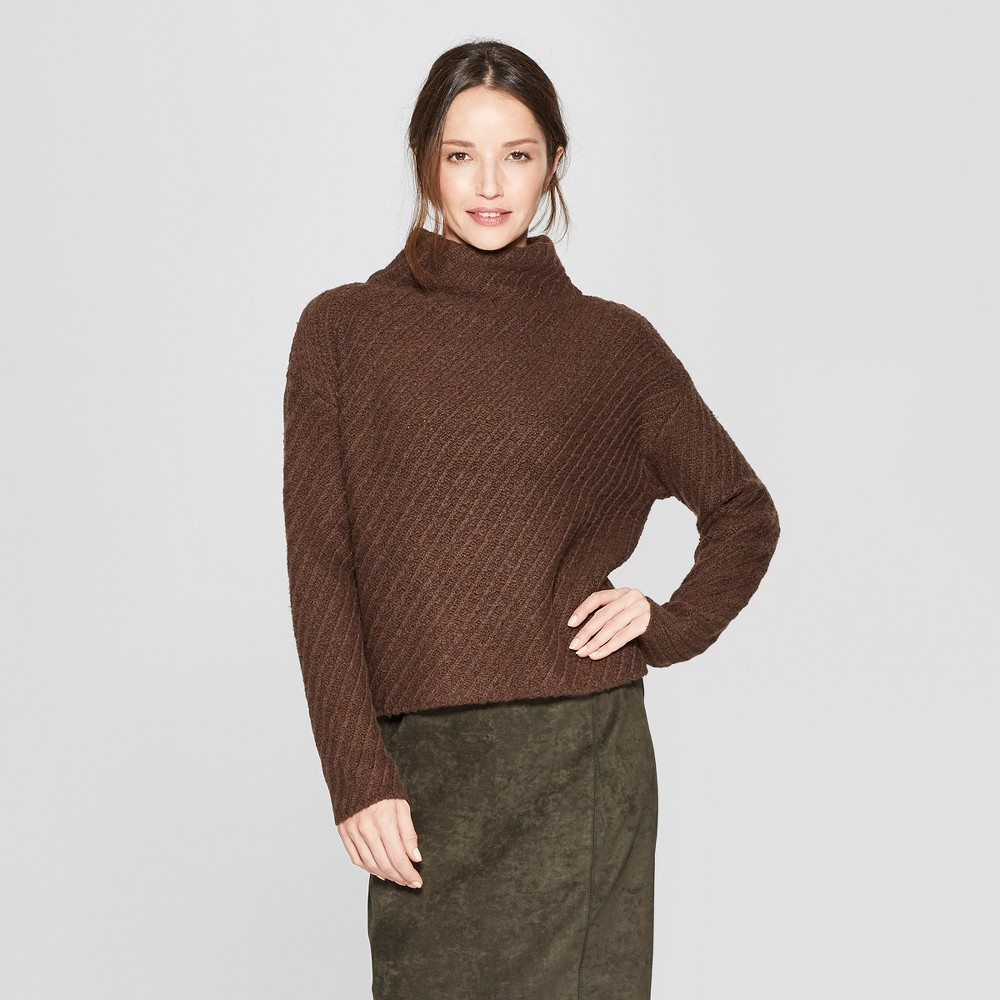 Women's Long Sleeve Textured Mock Neck Pullover Sweater - Prologue Brown S