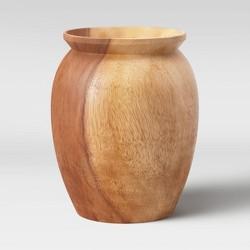 Round Tapered Munggur Wood Vase Natural - Threshold™