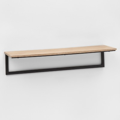 23.7  x 7  Wood & Metal Shelf Oak/Black - Project 62™