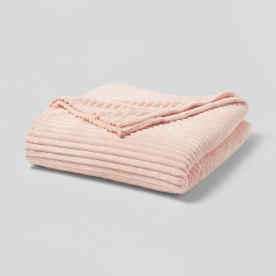 Full/Queen Ribbed Plush Bed Blanket Pink - Room Essentials™