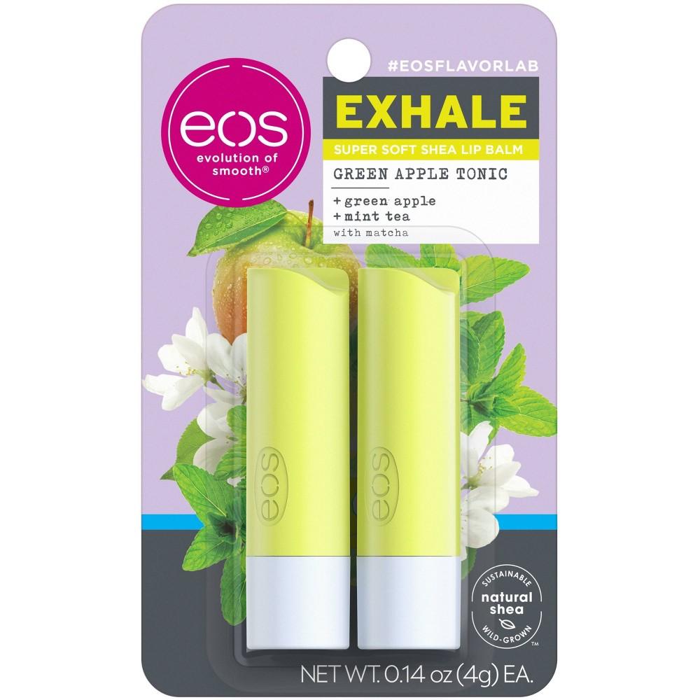 Eos Flavorlab Lip Balm Stick Exhale Green Apple Tonic 2pk 0 28oz