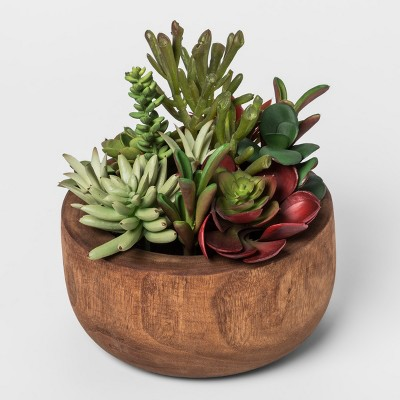 Faux Succulent Plant in Wood Pot - Threshold™