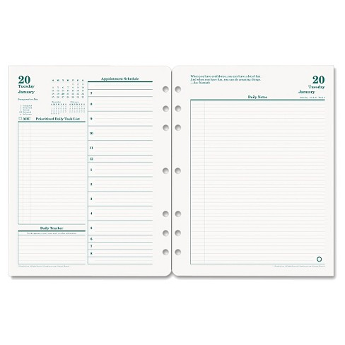 FranklinCoveyR Original Dated Daily Planner Refill January December