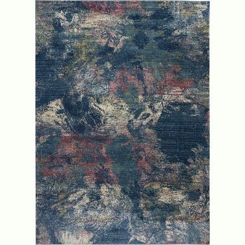 Blue Pink Yellow Colored Area Rug