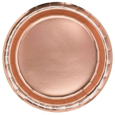"6.75"" 20ct Foil Snack Paper Plates Rose Gold - Spritz™"