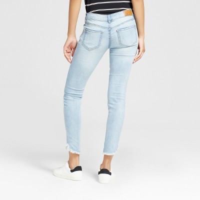 Womenu0027s Destructed Frayed Hem Crop Skinny Jeans - Dollhouse (Juniorsu0027) :  Target