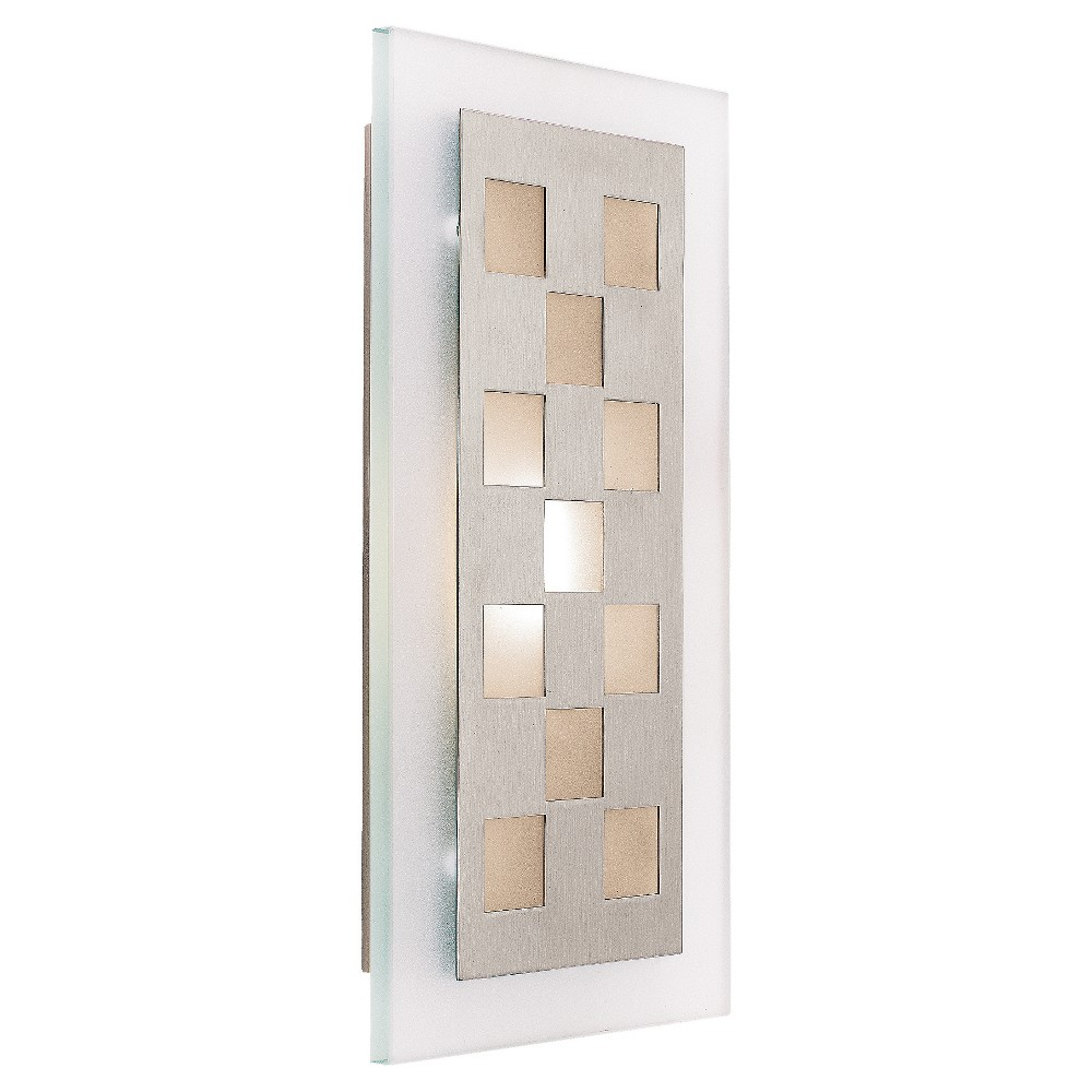 Aquarius Wall Sconce with Frosted Glass Shade - Brushed Steel (Silver)