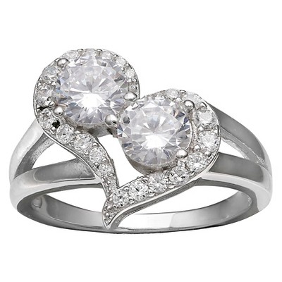 Women's Heart Ring with Cubic Zirconia in Sterling Silver - Silver/Clear (7)