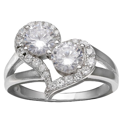 Women's Heart Ring with Cubic Zirconia in Sterling Silver - Silver/Clear - image 1 of 2