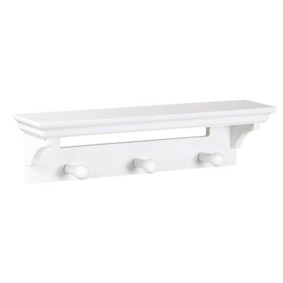 Wall Shelf with Hooks - White
