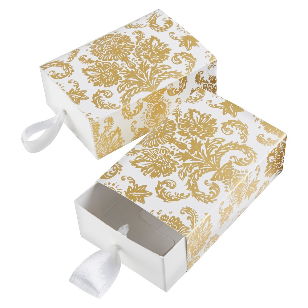 24ct Treasures Gold Damask Favor Box, White/Gold
