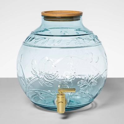 7.6qt Plastic Beverage Dispenser with Bamboo Lid Blue - Opalhouse™