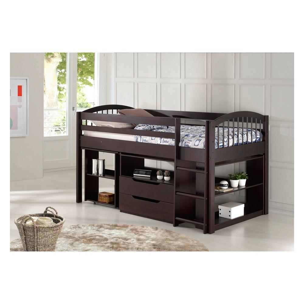Twin Addison Junior Loft Bed With Storage Drawers Bookshelf And Desk Espresso (Brown) - Alaterre Furniture