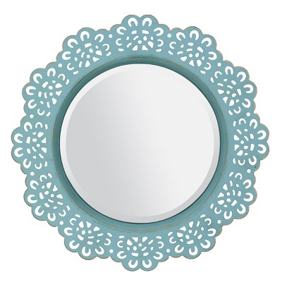 "12.5"" Floral Metal Lace Wall Mirror Light Blue - Stonebriar Collection"