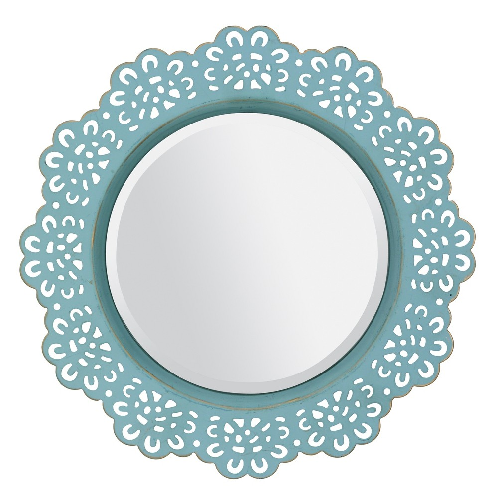 "Image of ""12.5"""" X 12.5"""" Metal Lace Wall Mirror Light Blue - Stonebriar Collection"""