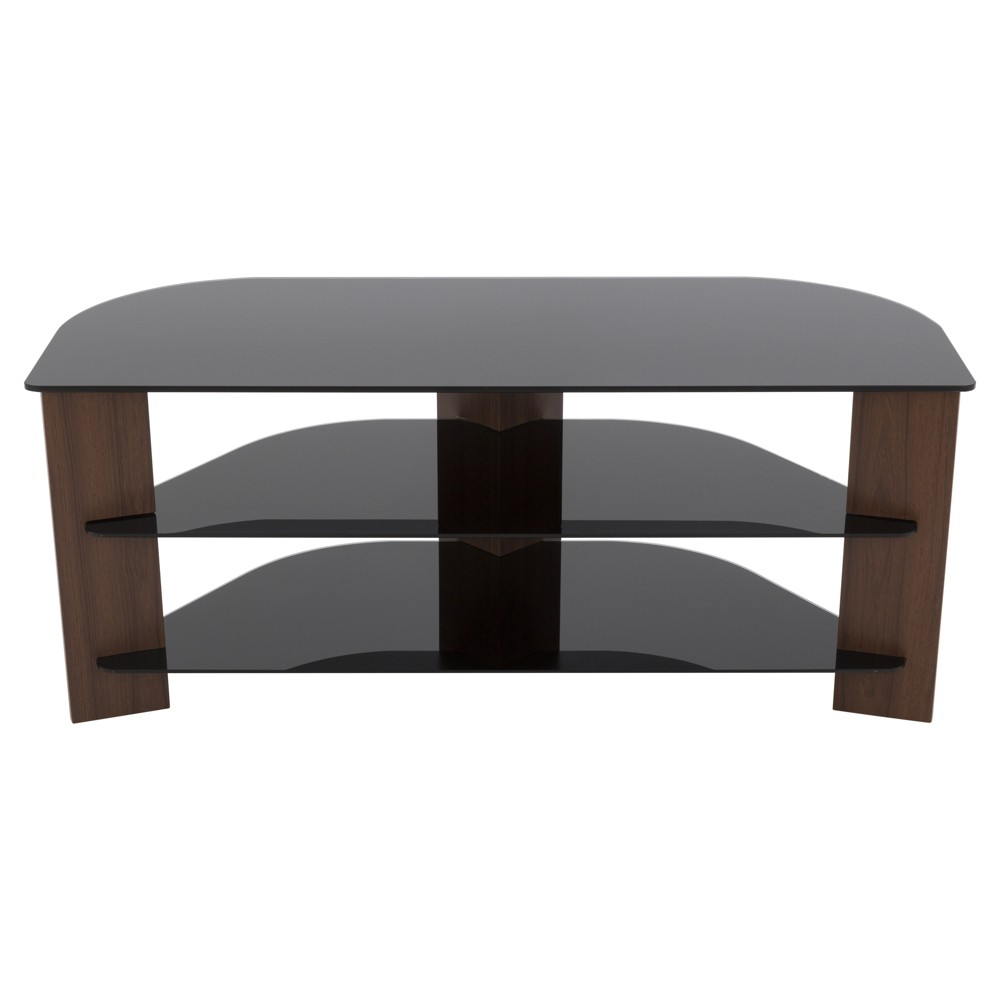 "55"" TV Stand with Glass Shelves - Walnut/Black"
