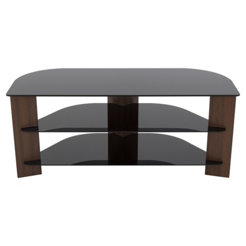 """55"""" TV Stand with Glass Shelves - Walnut/Black - image 1 of 4"""