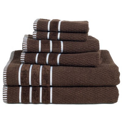 6pc 100% Combed Cotton Bath Towel Set Brown - Hastings Home
