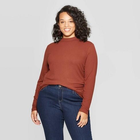 Women's Plus Size Long Sleeve Ribbed Turtlemock Neck T-Shirt - Ava & Viv™ - image 1 of 2
