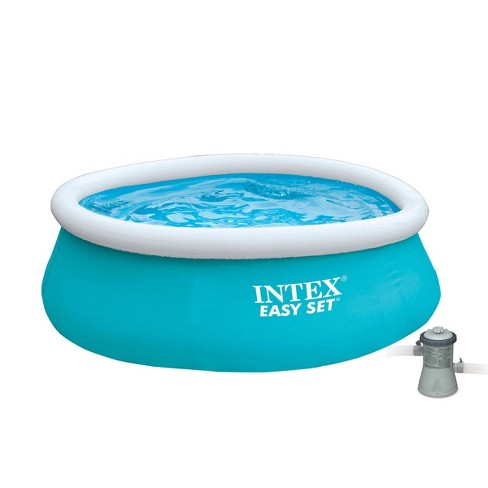 Intex 6ft x 20in Easy Set Inflatable Round Kids Backyard Swimming Pool & Pump - image 1 of 4