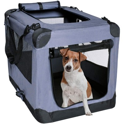 Arf Pets 27 in. Pet Dog Travel Carrier with Straps  - Soft Sided 3 Door Folding Crate