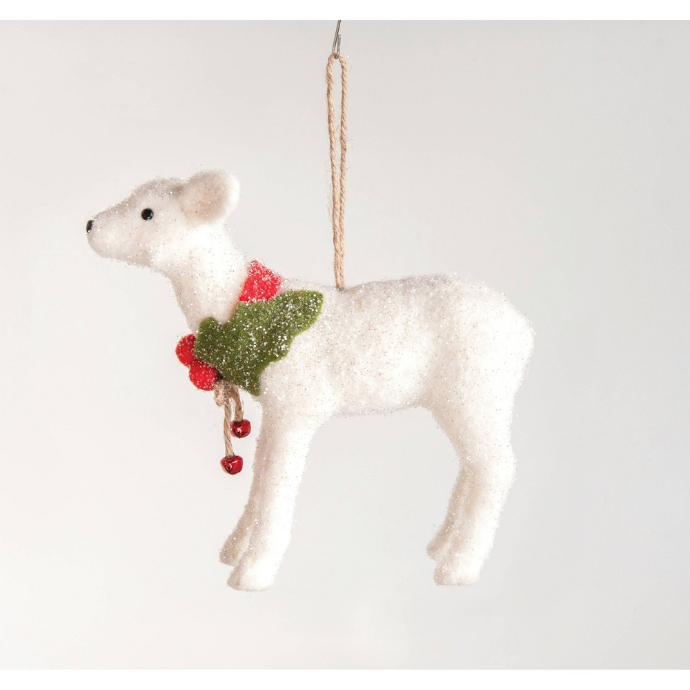 "Image of ""11"""" Felt Deer Ornament with Holly & Jingle Bells White - 3R Studio"""