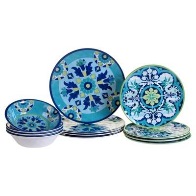 Certified International® Granada by Jennifer Brinley Melamine 12pc Dinnerware Set Blue